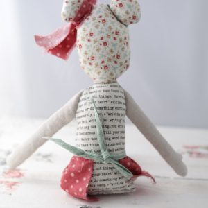 back of text fabric rag doll