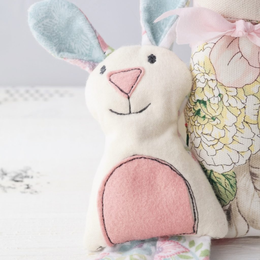 flannel bunny made with sizzix cat/bear/bunny die