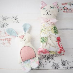 bunny and cat stuffies