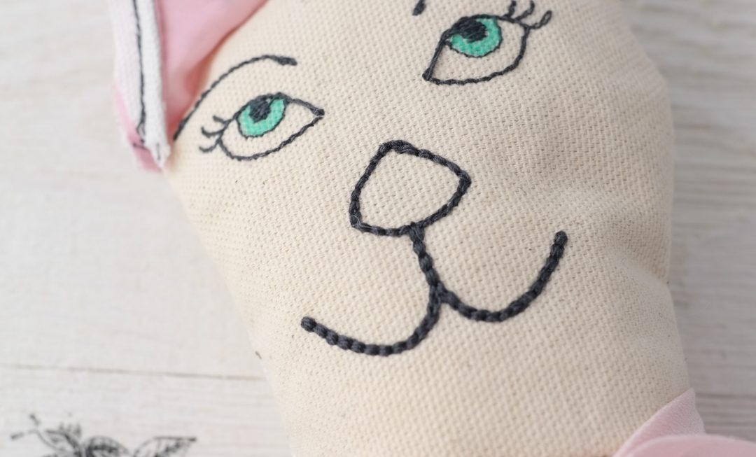 machine embroidered cat face