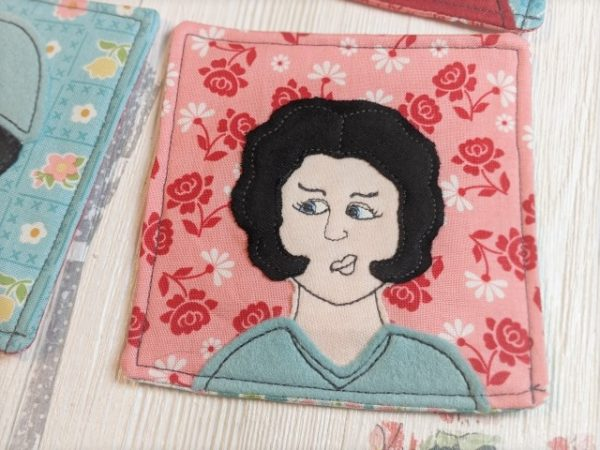 coaster with jester applique
