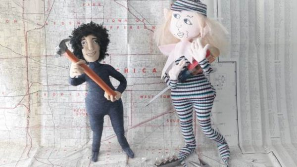 under construction, dolls with tools