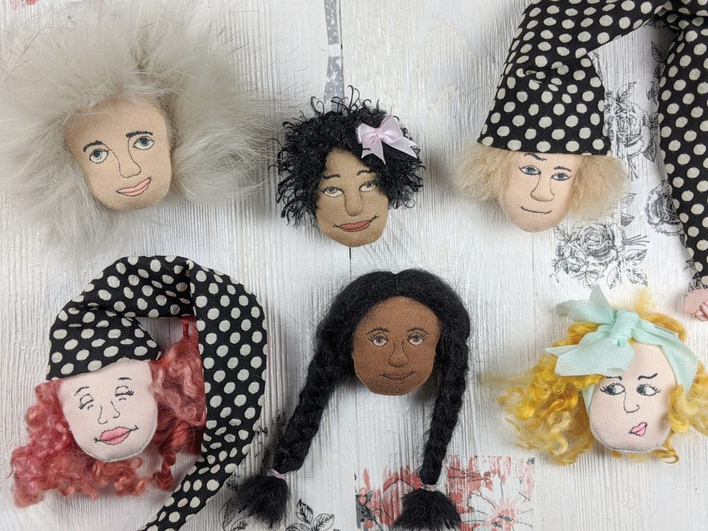 photo of 6 different doll hair styles